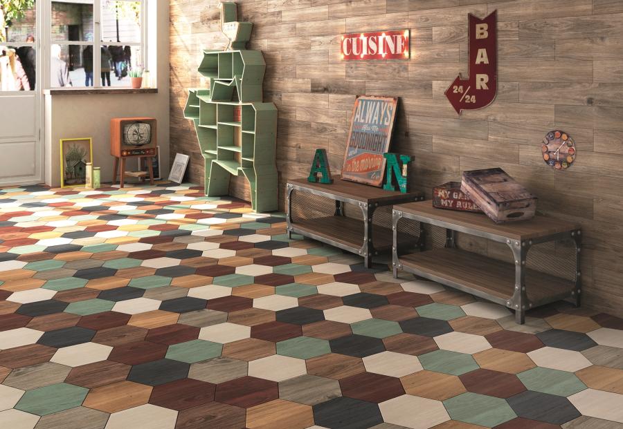 Porcelánico imitación madera hexagonal - Atlas Hexa